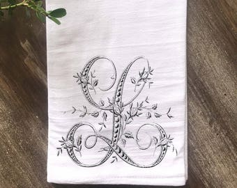 Monogrammed Towel, Farmhouse Flour Sack Towel, French Floral Monogram, Vintage Monogram,