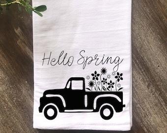 Farmhouse Hello Spring Vintage Truck Kitchen Flour Sack Tea Towel, Spring Kitchen Towel, Vintage Kitchen,  Multiple colors