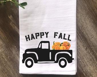 Farmhouse Thanksgiving Tea Towel, Happy Fall Vintage Truck Farmhouse Flour Sack Towel, Kitchen Tea Towel