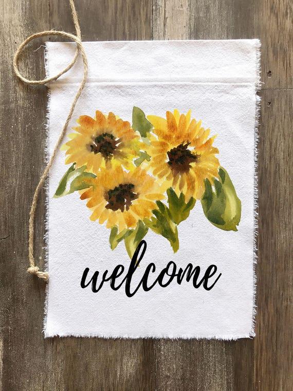 Farmhouse Canvas Flag Sunflower Welcome Flag Patio Decor Etsy