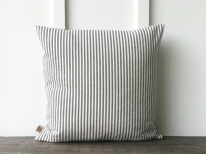 Farmhouse Blue French Ticking Pillow Cover Decorative Pillow Cover Custom Pillow Cover Farmhouse Pillow Cover Stripe Pillow Cover Blue
