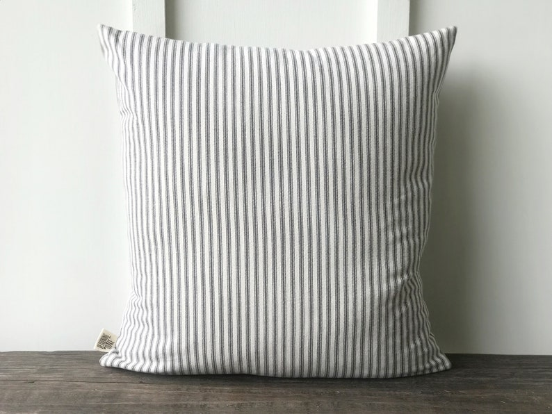 Farmhouse Gray French Ticking Pillow Cover Decorative Pillow Cover Farmhouse Pillow Cover Custom Couch Pillow Gray Stripe