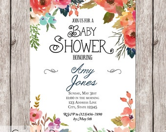 Floral Watercolor Baby Shower Invitation - Printable - 5x7