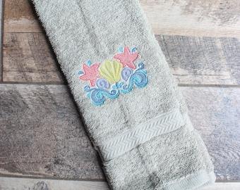 Seashell Hand Towel - Beach Hand Towel - Beach House Decor - Beach Decor - Seashell Towel - Seashell Decor - Nautical Home Decor