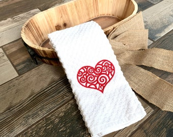 Valentine's Day Hand Towel - Heart Hand Towel - Valentine's Day Decor Towel - Valentine Hand Towel - Bathroom Decor - Bathroom Hand Towel