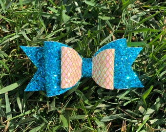 Blue Glitter Hair Bow - Glitter Hair Bow - Glitter Hair Clip - Mermaid Hair Bow - Teal Hair Bow - Gold Hair Bow - Gift For Girls  - Bow