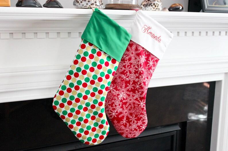 Christmas Stocking  Polka Dots Christmas Stocking  Christmas image 0