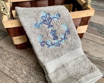 Anchor Hand Towel - Anchor Kitchen Towel - Anchor Towel - Beach House Hand Towel - Beach House Decor - Nautical Hand Towel - Nautical Decor
