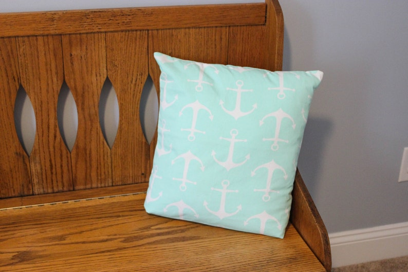 Nautical Pillow Cover  Anchor Pillow Cover  Mint Pillow image 0