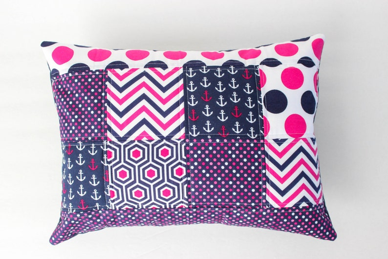 Nautical Pillow Cover  Navy and Hot Pink Nursery Pillow Cover image 0