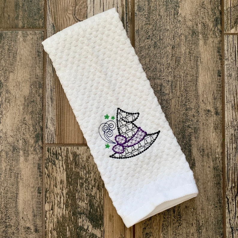 Witch Hand Towel  Witch's Hat Kitchen Towel  Halloween white waffle towel