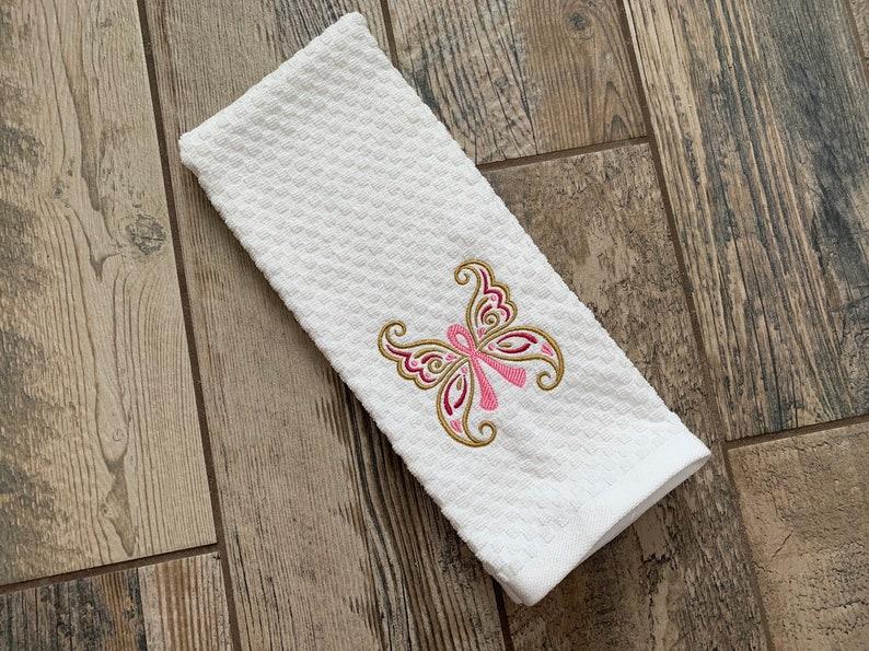 Pink Ribbon Towel  Breast Cancer Angel  Pink Ribbon white waffle towel