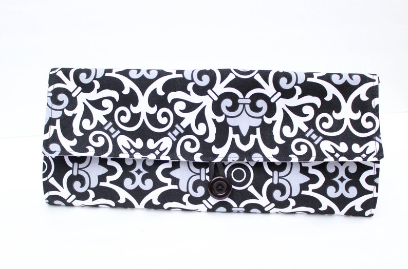 Black and white Diaper Clutch  Diaper Change Clutch  Diaper image 0