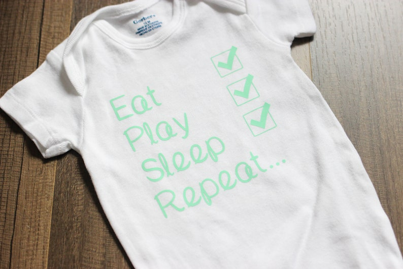 Eat Play Sleep Repeat Onesie  Funny Baby Onesie  Funny Baby image 0