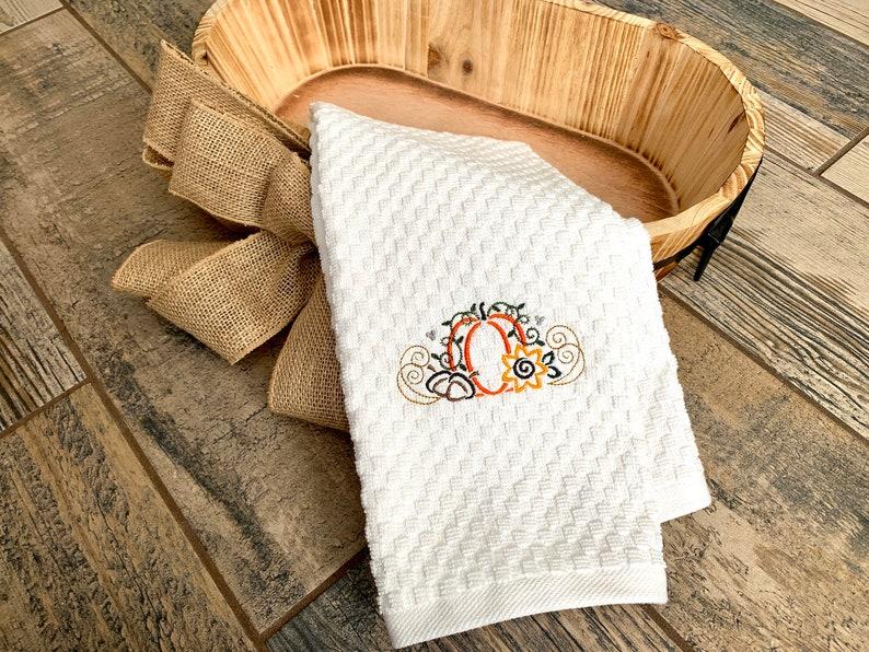 Pumpkin Hand Towel  Thanksgiving Hand Towel  Fall Decor image 0