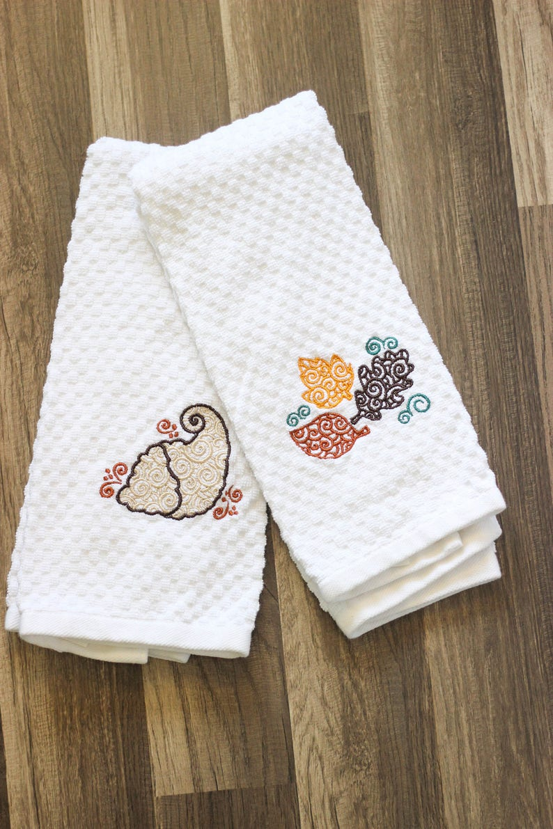 Thanksgiving Kitchen Towels  Thanksgiving Hand Towels  white waffle towel