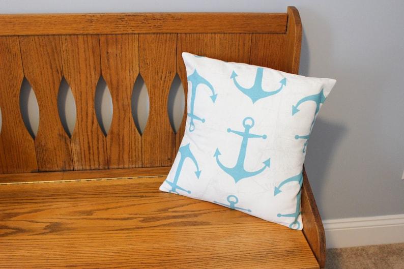 Anchor Pillow Cover  Nautical Pillow Cover  Beach House image 0