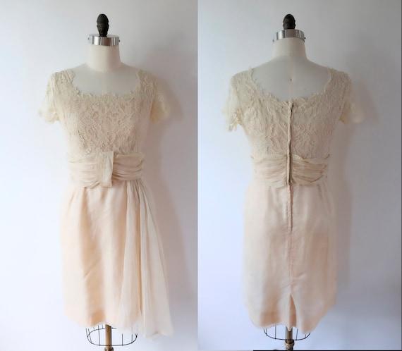 Pink Sheer Organza Lace 50s Dress, women's xs