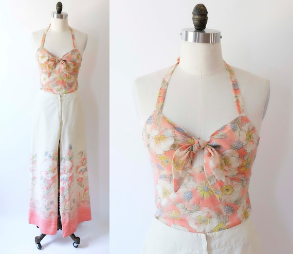 70s Two Piece Set / Jumpsuit,  Halter Top and Pant