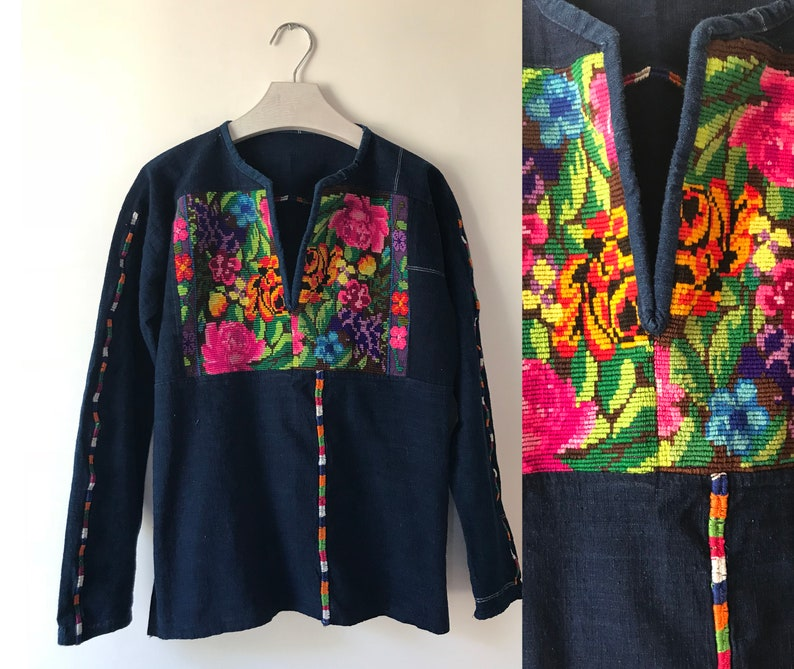 womens XS S M bright floral embroidery Vintage Hand Embroidered Guatemalan Cotton Denim Indigo Top Blouse