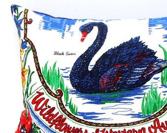 Cushion Cover Vintage Linen Tea Towel Black Swan Western Australia