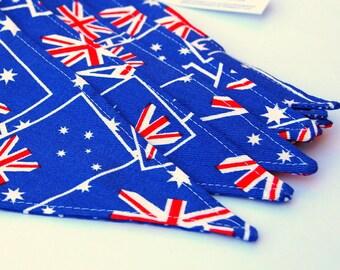 Australian Flag Fabric Bunting (Red, Blue, White)