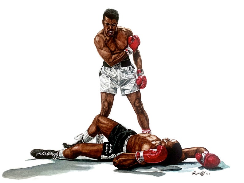 Muhammad Ali vs Sonny Liston  Boxing  Watercolour Painting