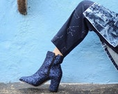 Glitter Boots - Deep Blue - Ankle Boots - MINA Booties - FREE SHIPING Worldwide on these Boots!  Featured on etsy :D - Hand Made in Mexico