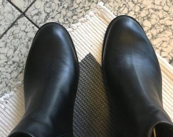 af8136ba50bae3 Schwarz Leder schwarz Western BOOTIES - schwarz Leder Stiefel-glatte Leder  - weiches Leder - Stiefeletten - Hand Made in Mexiko