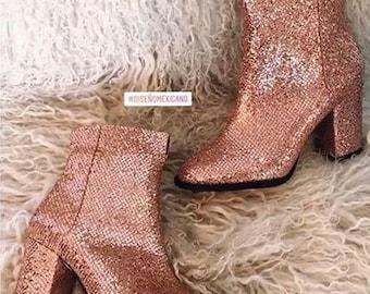 Botines de glitter - Botas Glitter Rosa - Botas Oro Rosa  - Fabricadas a mano en cantidades limitadas