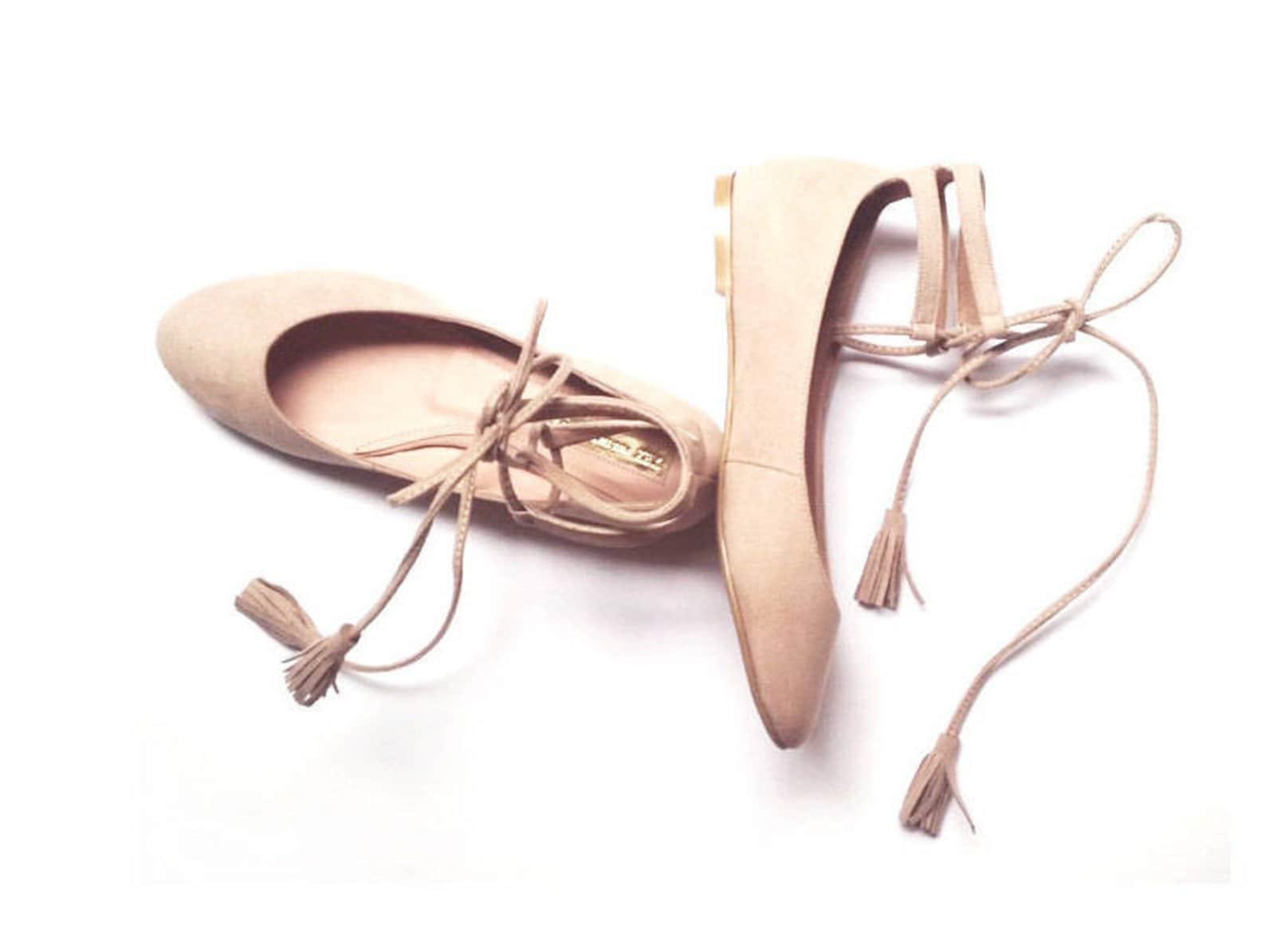 nude ballet flats - last pair! - size 9 us - rose quartz - faux suede textile / vegan lining - mina shoes mexico