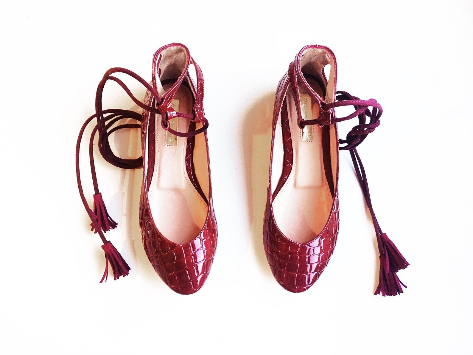 red ballet shoes + ready to ship + croc embosed + cranberry red + flat shoes women + red ballet flats + shipping 25-30 days