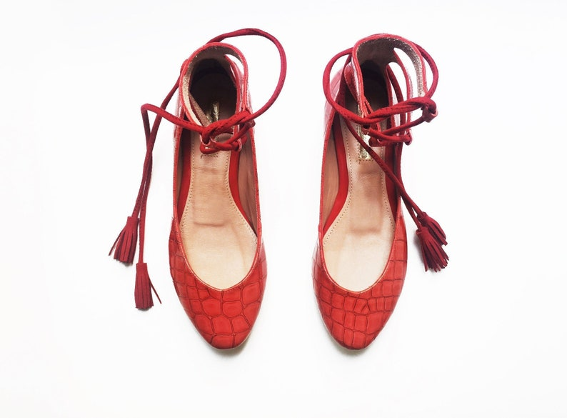 733dcf6a552 RED BALLET SHOES Ready to Ship Red shoes Red Ballerinas