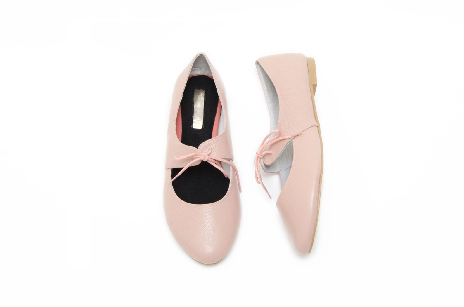 peach leather ballet flats - free shipping on these! - 100% genuine leather - limited edition - wide fit