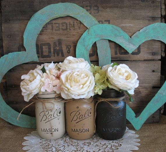 Wedding Flowers In Mason Jars: Items Similar To Mason Jars, Ball Jars, Painted Mason Jars