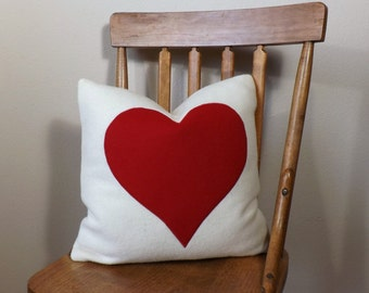 "Red Heart on Winter White Wool ~ 16"" x 16"" Pillow ~ Down and Feather Insert ~ Vintage Fabric ~ Heart Applique ~ Gift"