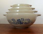 Pyrex Mixing Bowls, Set of 4, 39 Homestead Country Kitchen 39 Cinderella Bowls, 441, 442, 443, 444, 1 1 2 pints to 4 Quarts, 1970s Batter Bowl