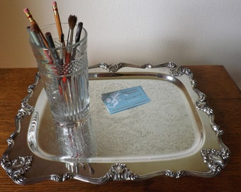Silver Serving Tray ~ 'Victoria' ~ Desk Accessory ~ Vanity Tray ~ W. S. Blackinton ~ Perfume Tray ~ Boudoir ~ Pressed Glass ~ Organize