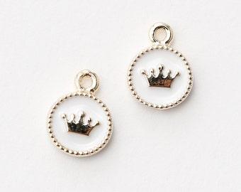 3131045  Tiny Crown  Matt Rhodium Plated Brass 5.4mm x 8.8mm  0.3g  4pcs