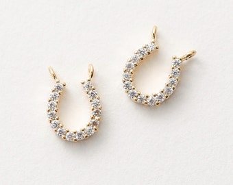 3012031 / Horseshoe / 16k Gold Plated Brass with Cubic Zirconia Connector 7.4mm x 9.4mm / 0.3g / 2pcs