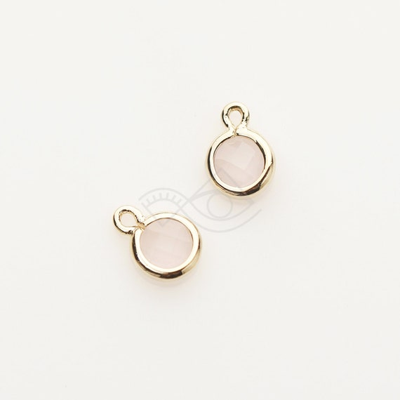 CG057-PG-IP Polished Gold Plated over Brass  2 Pcs Ice Pink Glass Pendant Jewelry Craft Supplies