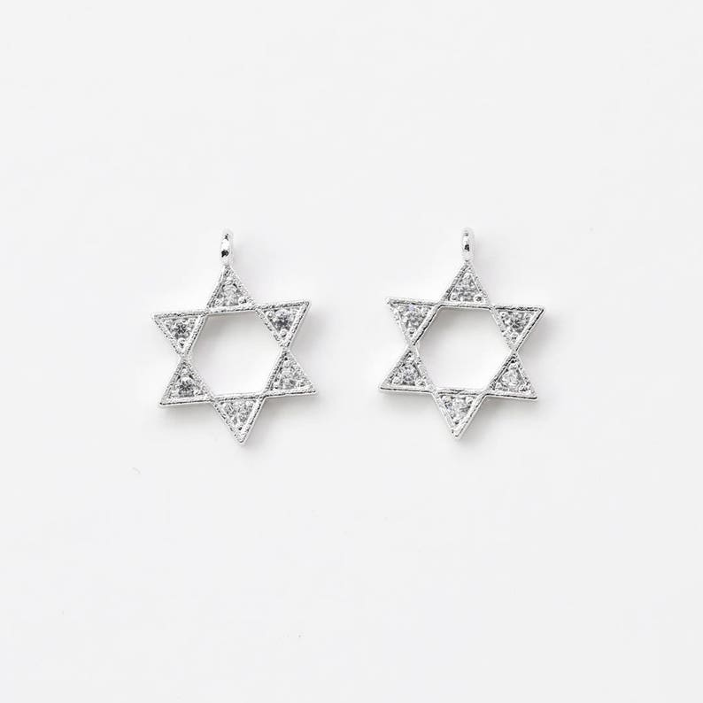 3419022 / Star / Rhodium Plated Brass with CZ Pendant 9.4mm x image 0