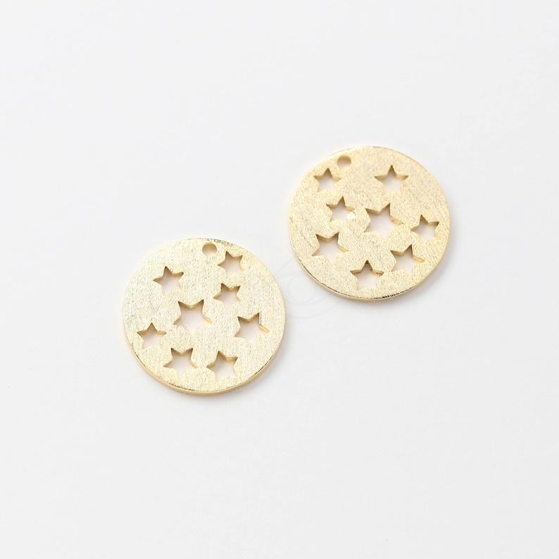 3478012  Star Circle  Sand Finished Rhodium Plated Brass Pendant 16mm Diameter  1.5g  2pcs