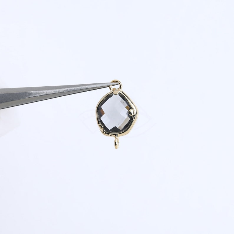 2081051  Charcoal  16k Gold Plated Brass Framed Glass Connector 7.9mm x 12.3mm  0.5g  2pcs