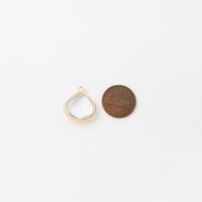 1006277  Cherry Quartz  Rose Gold Plated Brass Framed Glass Pendant 18mm x 21mm  3g  2pcs