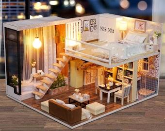 Dollhouse kit etsy diy duplex flat kit diy handcraft miniature project wooden dolls house solutioingenieria Images