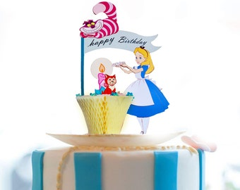 Disney Alice in wonderland cake toppers / Alice greeting card / cake decoration /Alice birthday card / Alice in wonderland party supplies