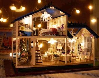 Lighting For Dollhouses For Provence Lavender Villa Light And Music Diy Handcraft Miniature Project Wooden Dolls House Kit Dollhouse Kit 124 Miniature Etsy