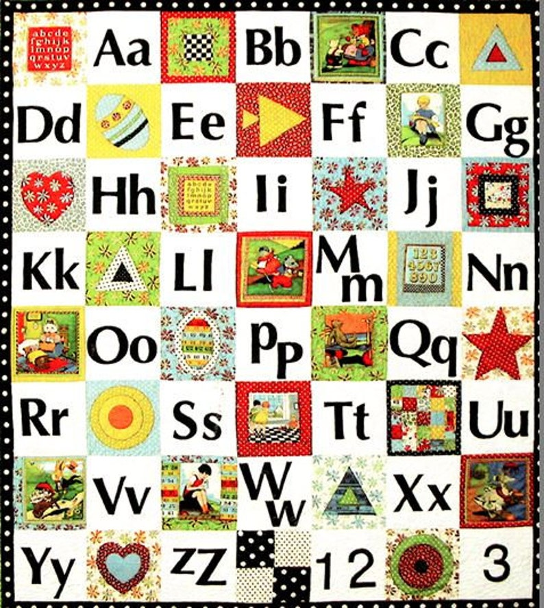 American Jane Patterns Alphablocks Quilt Sandy Klop Easy Block Quilt Pattern Letters and Numbers I Spy Quilt 8.5 Inch Squares Chart Pack