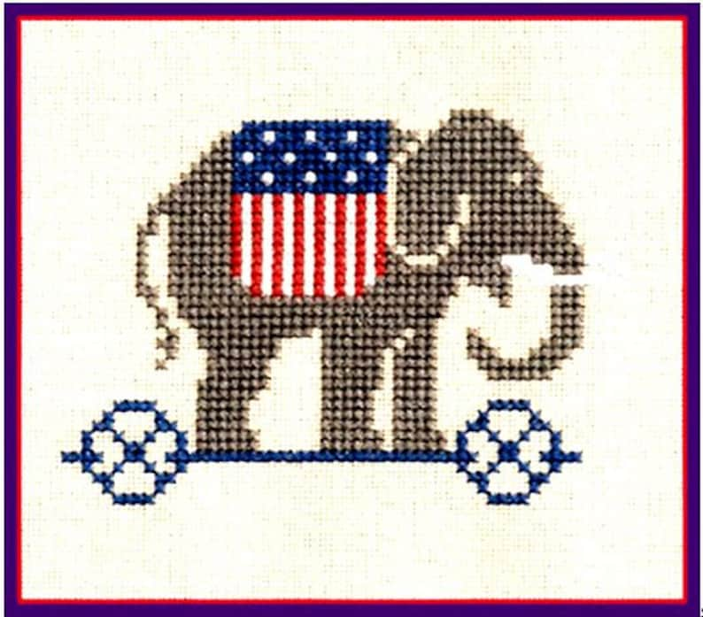 The Prairie Schooler American Primitive Patriotic Counted Cross Stitch Pattern Book 8 Charted Design Red White and Blue Needlework Rare OOP